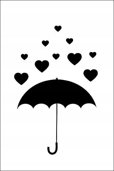 grafika przedstawia parasol, na który padają serca
